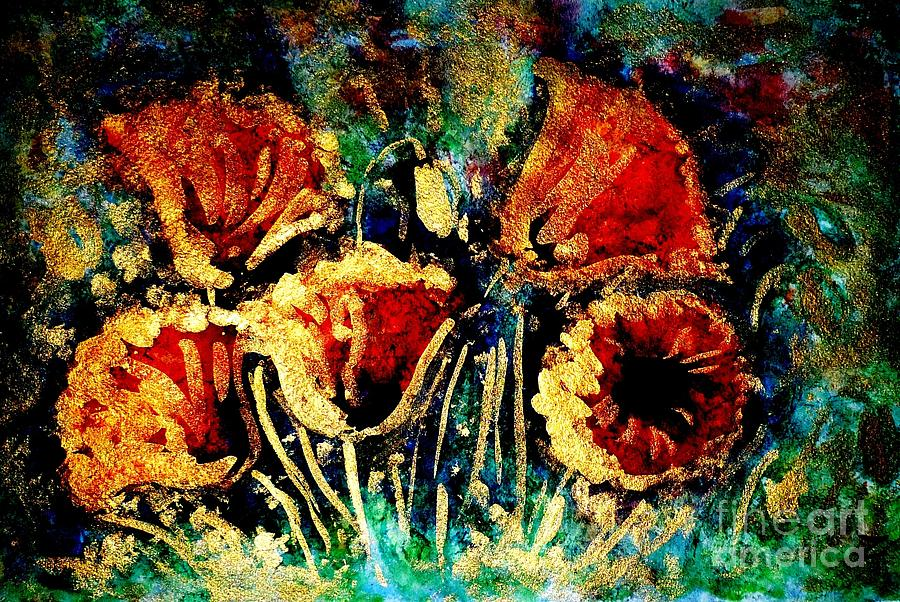Poppies Painting - Poppies In Gold by Zaira Dzhaubaeva