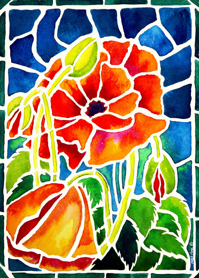 Poppies In Stained Glass Painting  - Poppies In Stained Glass Fine Art Print