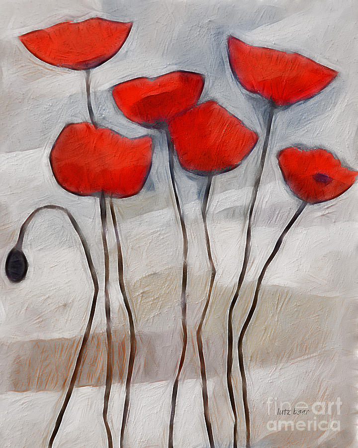 Poppies Painting Digital Art  - Poppies Painting Fine Art Print