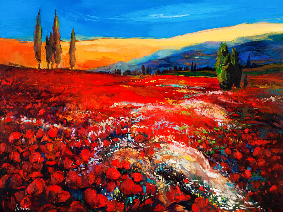 Abstract Painting - Poppiesfield by Ivailo Nikolov