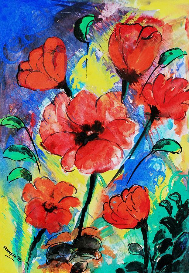 Poppy Blossom Painting