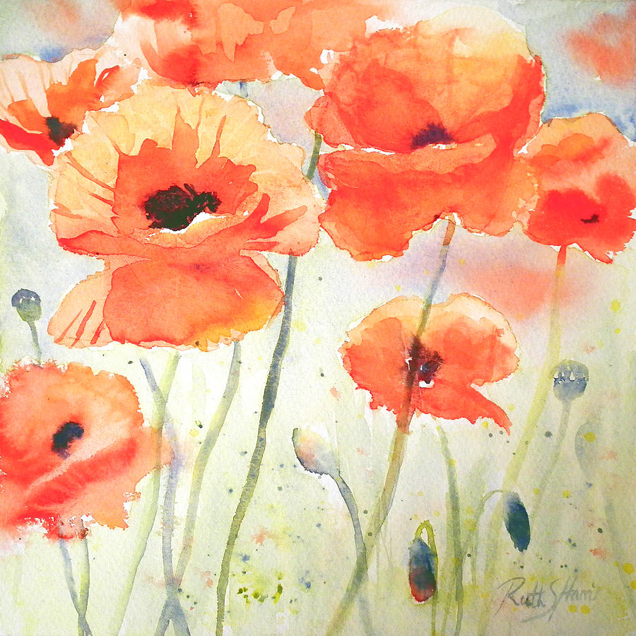 Poppy Meadow Painting By Ruth Harris