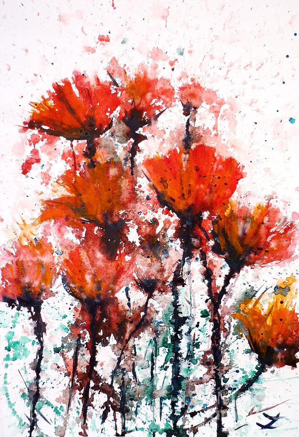 Poppy Splashes Painting  - Poppy Splashes Fine Art Print