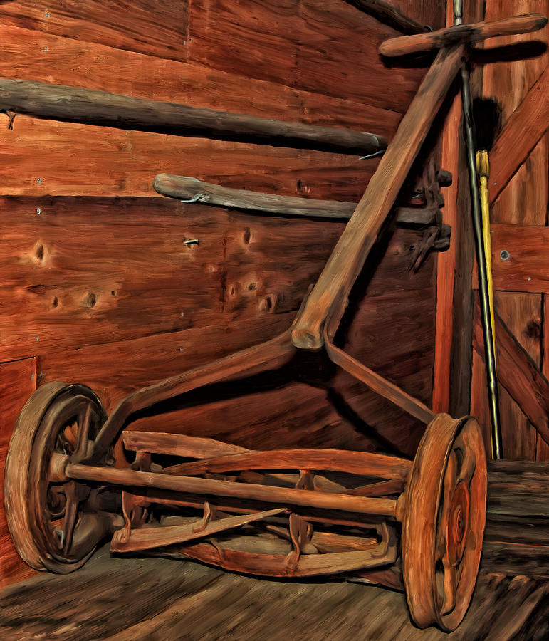 Pops Old Mower Painting  - Pops Old Mower Fine Art Print