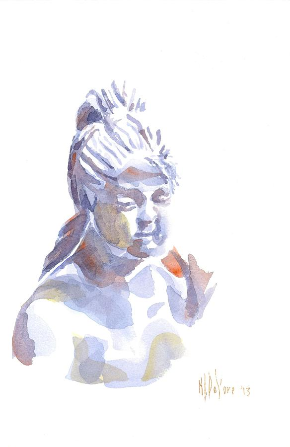 Porcelain Maiden In Watercolor Painting - Porcelain Maiden In Watercolor by Kip DeVore