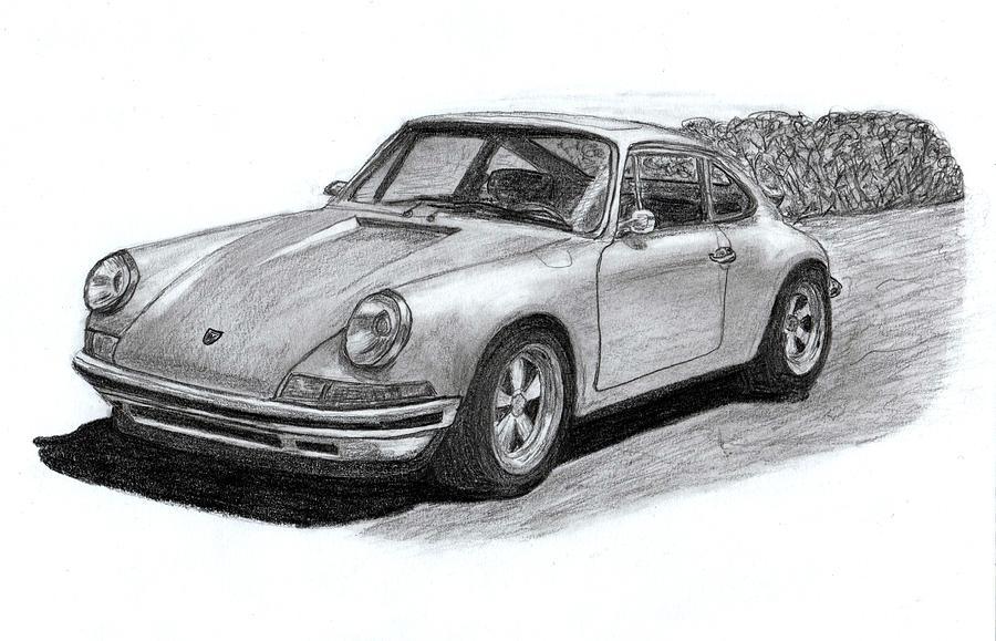 Porsche 911 Classic Sportcar. Drawing By Steve Fribek