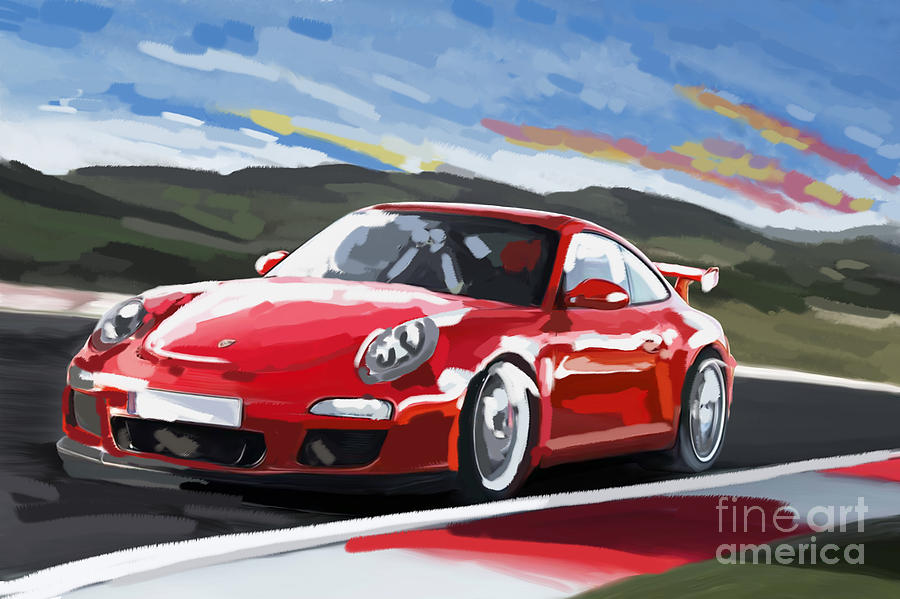 Porsche 911 Gt3 Impressionist Painting By Tim Gilliland