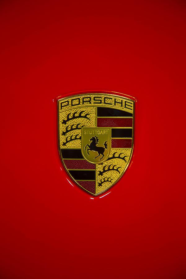 Porsche Emblem Red Hood Photograph
