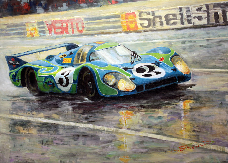 Acrilic On Canvas Painting - Porsche Psychedelic 917lh  1970  Le Mans 24  by Yuriy Shevchuk