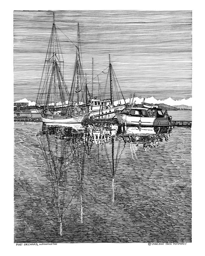 Port Orchard Reflections Drawing
