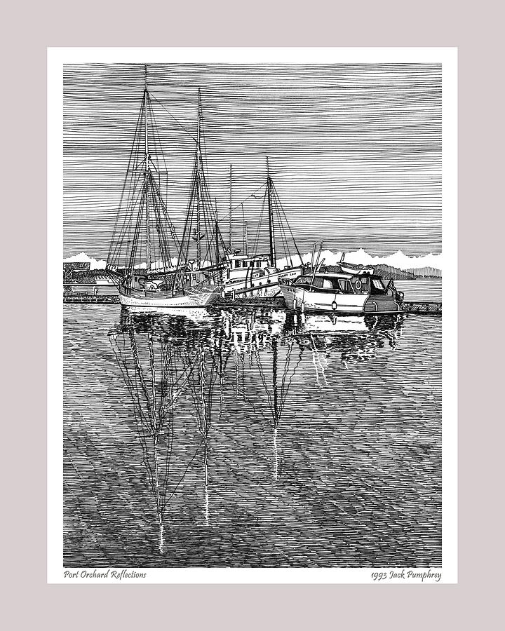 Pen And Ink Drawing Of The Reflections At The Port Orchard Marina Breakwater By Jack Pumphrey Drawing - Reflections Of Port Orchard Washington by Jack Pumphrey