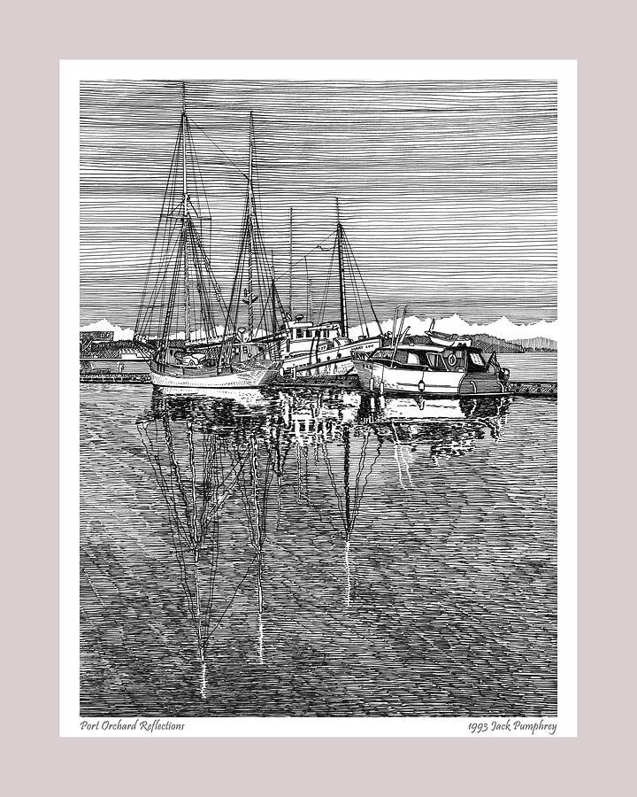 Reflections Of Port Orchard Washington Drawing
