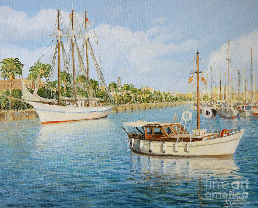 Port Vell In Barcelona Painting