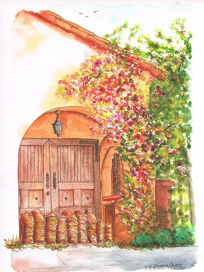 Portal-with-bouganvilles-in-westwood-ca Painting  - Portal-with-bouganvilles-in-westwood-ca Fine Art Print