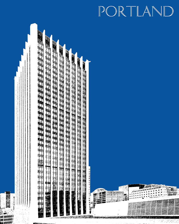 Portland Skyline Wells Fargo Building - Royal Blue Digital Art