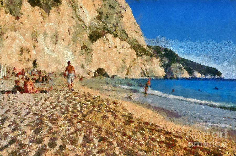 Porto Katsiki Beach In Lefkada Island Painting
