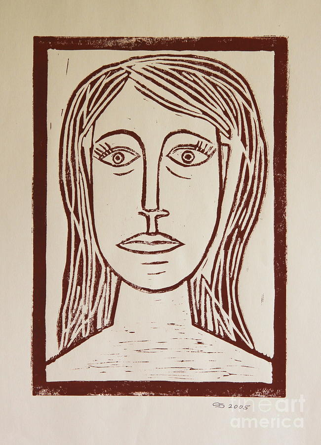 Portrait A La Picasso - Block Print Mixed Media
