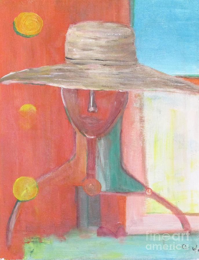 Portrait Painting - Portrait Avec Le Chapeau by Chaline Ouellet