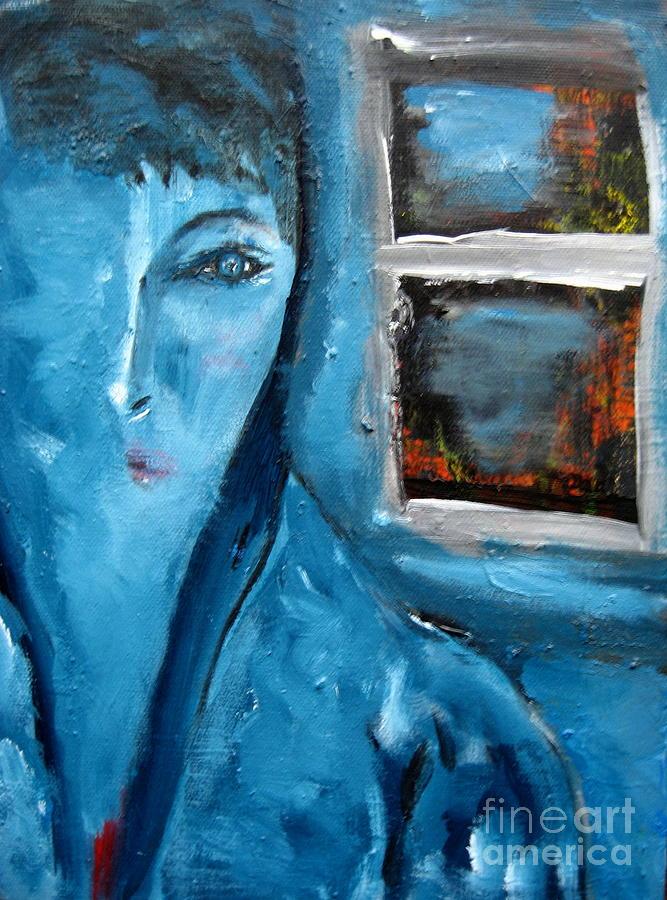 Portrait Bleu Avec Le Fenetre Painting