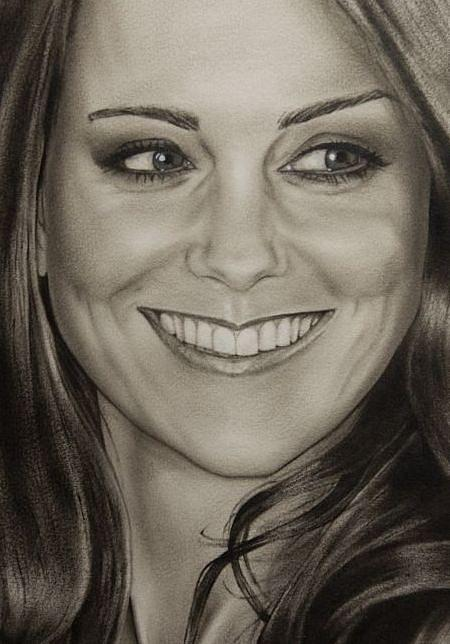 Portrait Kate Middleton Detail Painting