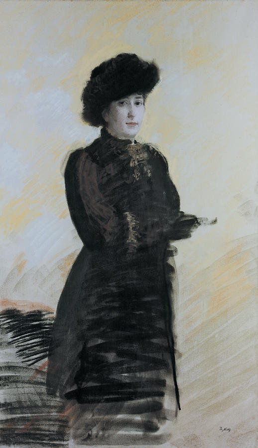 Portrait Of A Lady De Nittis Drawing