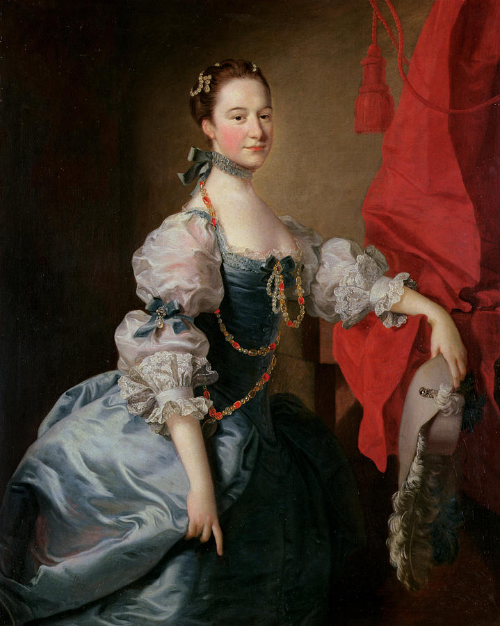 Three-quarter Length Painting - Portrait Of A Lady In A Blue Gown by Thomas Hudson