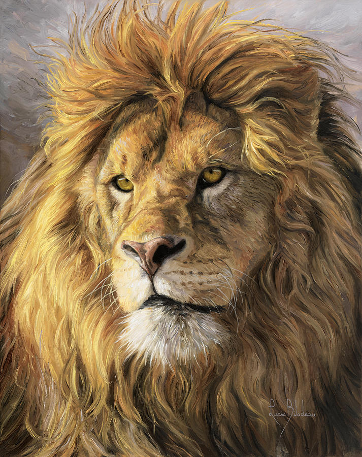 Portrait Of A Lion Painting by Lucie Bilodeau