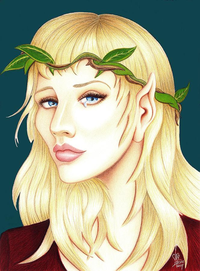 She Elf Drawing - Portrait Of A She Elf by Danielle R T Haney