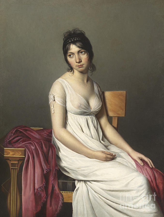 Three; Quarter; Length; Female; Georgian; Costume; Dress; Empire; Line Painting - Portrait Of A Young Woman In White by Jacques Louis David
