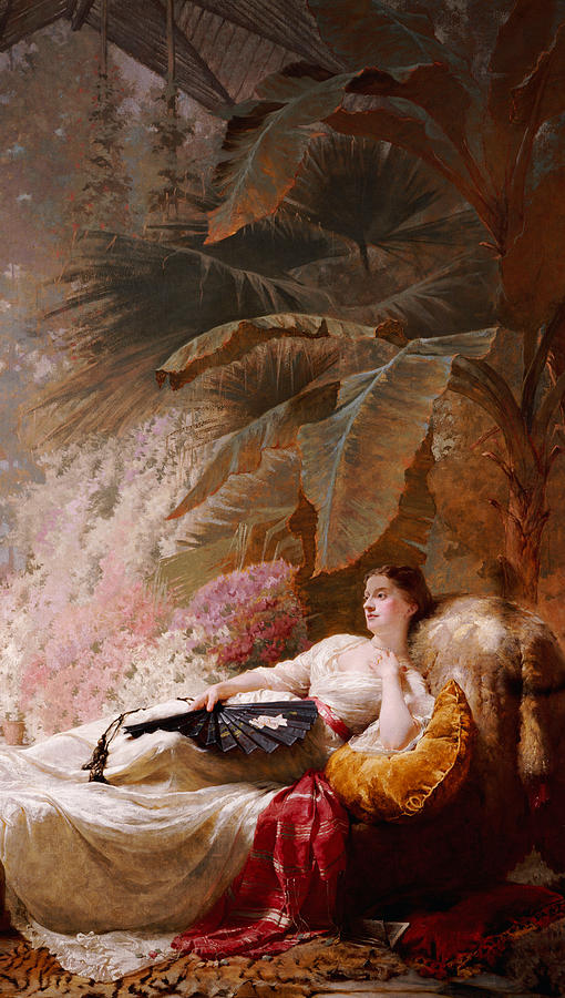 Female Painting - Portrait Of Adelaide Maria Guiness Reclining On A Sofa In A Conservatory by George Elgar Hicks