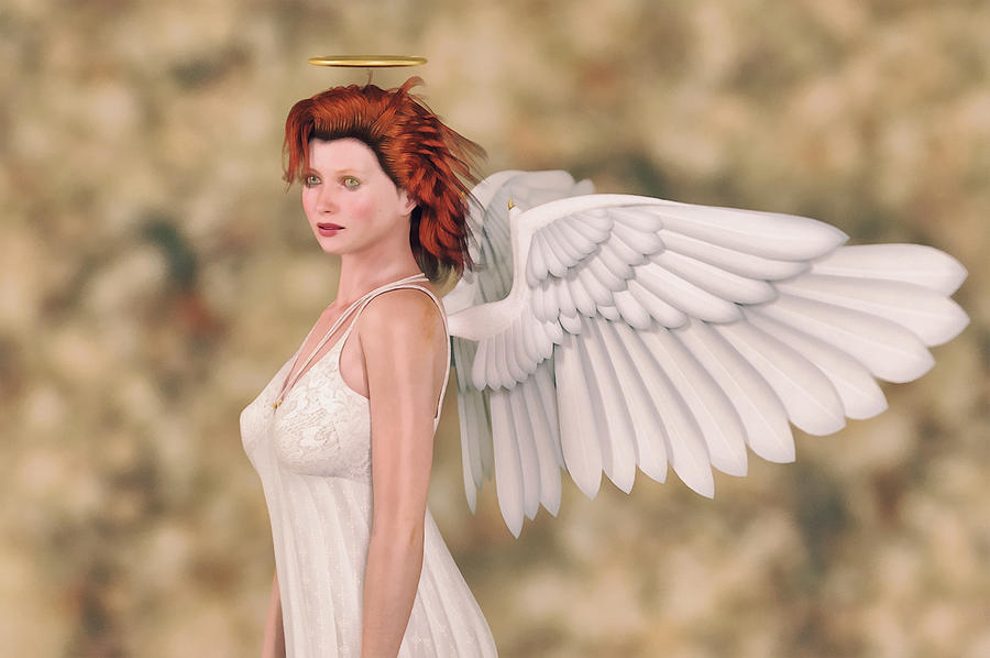 Portrait Of An Angel Digital Art  - Portrait Of An Angel Fine Art Print
