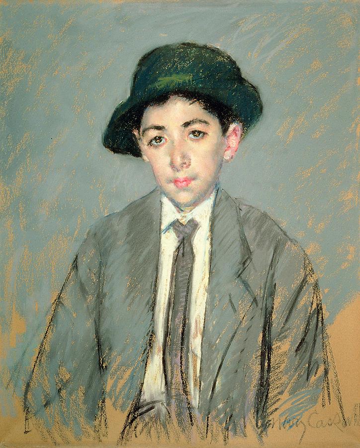 Boy; Child; Half Length; Hat; Tie Painting - Portrait Of Charles Dikran Kelekian by Mary Stevenson Cassatt