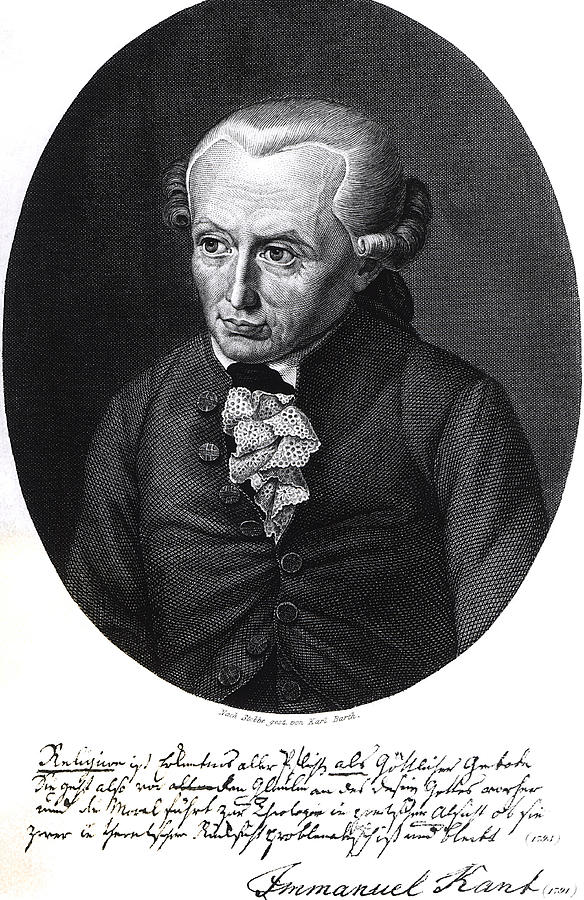 German Philosopher; Male; Wig; Lace; Stobbe; Immanuel Drawing - Portrait Of Emmanuel Kant  by German School