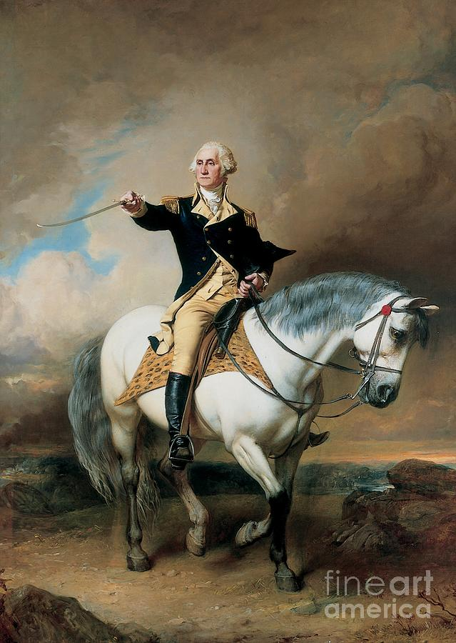 Portrait Of George Washington Taking The Salute At Trenton Painting