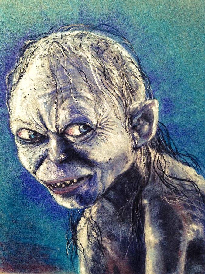 Gollum Pastel - Portrait Of Gollum by Alban Dizdari