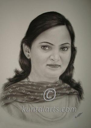 Portrait Drawing - Portrait Of Nisha by Kuntal Chaudhuri