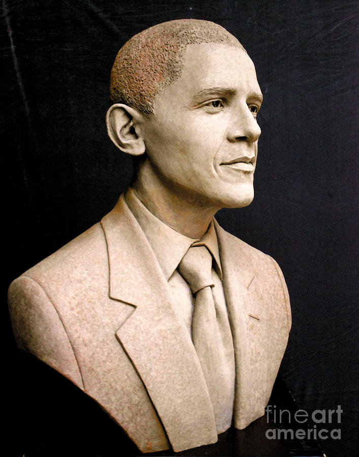 President Barack Obama Portrait Sculpture - Portrait Of President Barack Obama by Tsvetana Yvanova