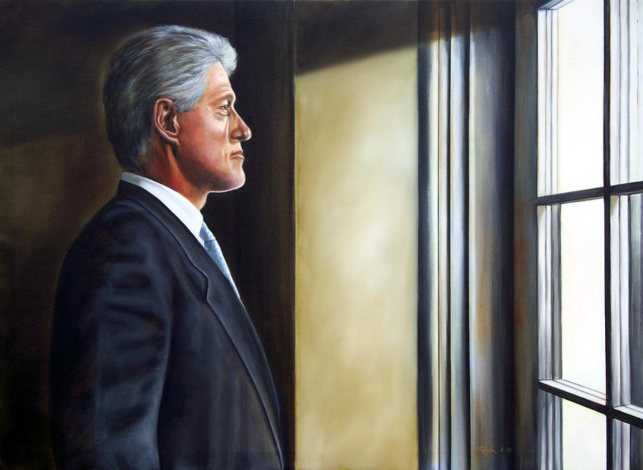 Portrait Of President William Jefferson Clinton In Profile Painting
