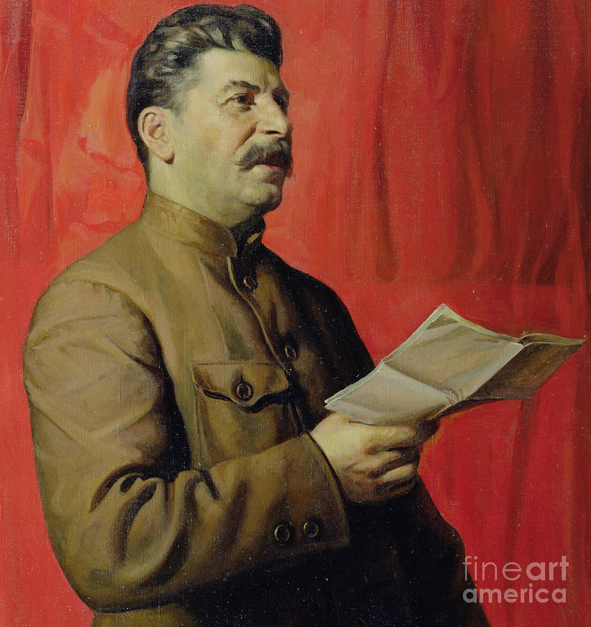 Portrait; Joseph; Male; Dictator; Socialist; Communist; Communism; Moustache; Speaking; Orator; Oratory; Reading; Red; Statement; Despot Painting - Portrait Of Stalin by Isaak Israilevich Brodsky