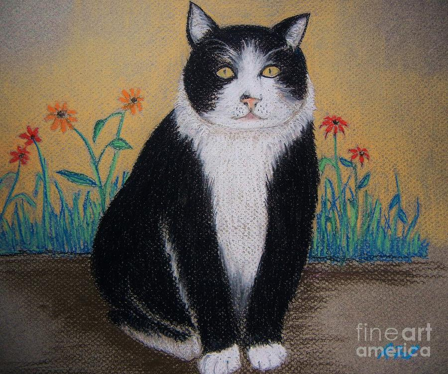 Portrait Of Teddy The Ninja Cat Pastel  - Portrait Of Teddy The Ninja Cat Fine Art Print