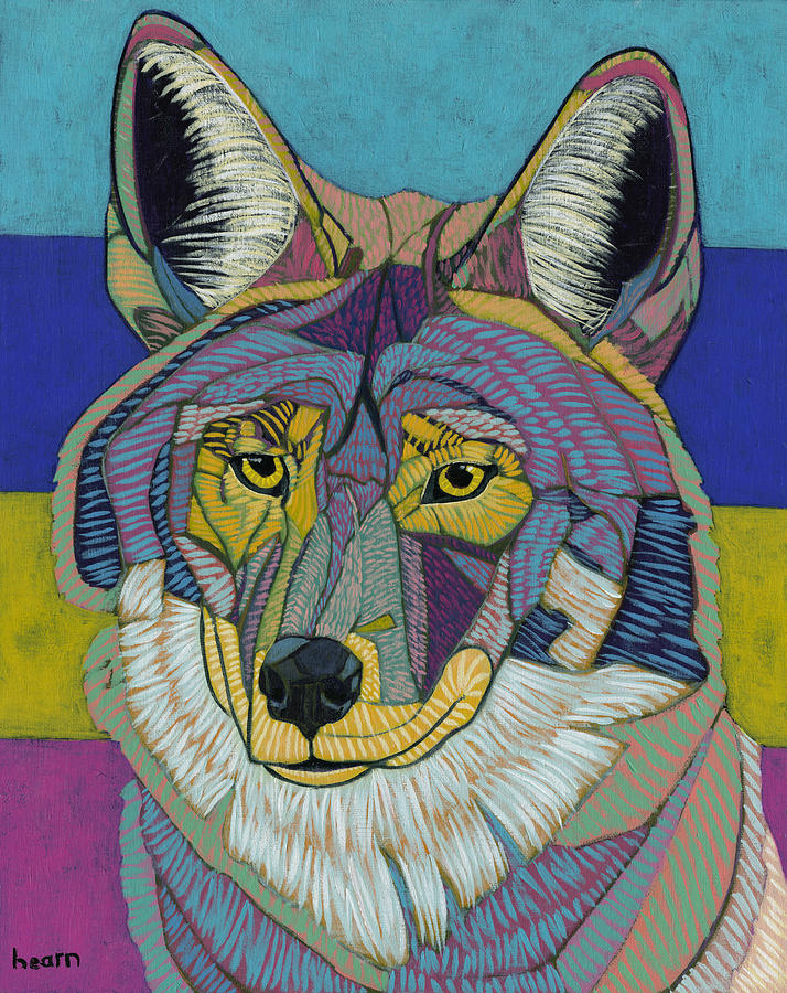 Portrait Of The Wise Coyote Dowd Painting  - Portrait Of The Wise Coyote Dowd Fine Art Print
