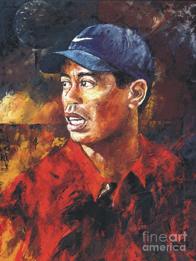 Portrait - Tiger Woods Painting  - Portrait - Tiger Woods Fine Art Print