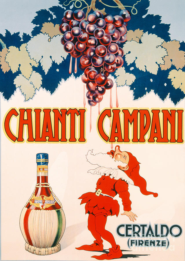 Poster Advertising Chianti Campani Drawing - Poster Advertising Chianti Campani by Necchi