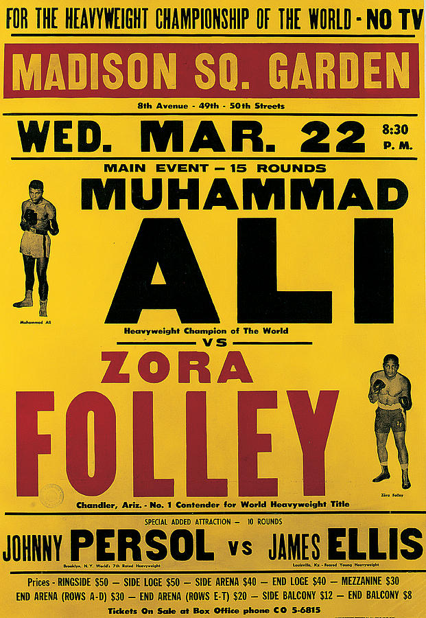 Poster Advertising The Fight Between Muhammad Ali And Zora Folley In Madison Square Garden Painting
