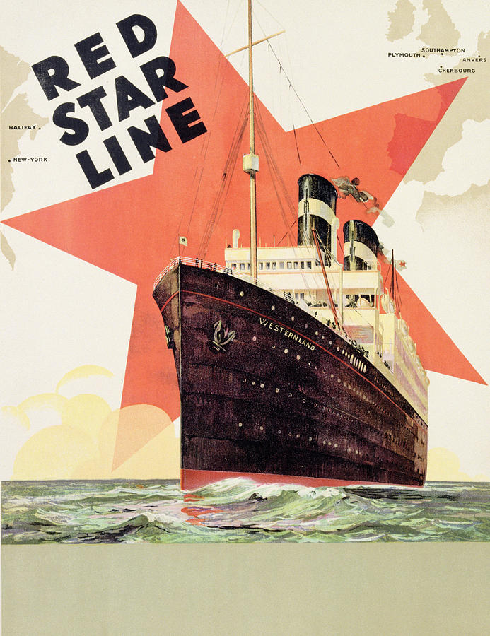 Maritime Painting - Poster Advertising The Red Star Line by Belgian School