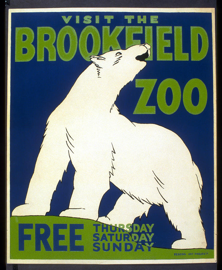 Poster For The Brookfield Zoo Digital Art  - Poster For The Brookfield Zoo Fine Art Print