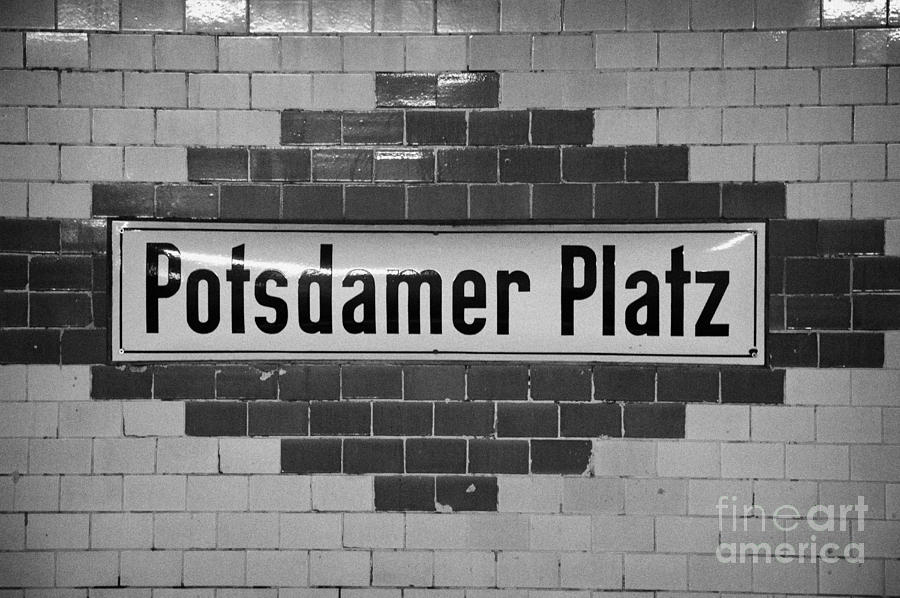 Potsdamer Platz Berlin U-bahn Underground Railway Station Name Plate Germany Photograph