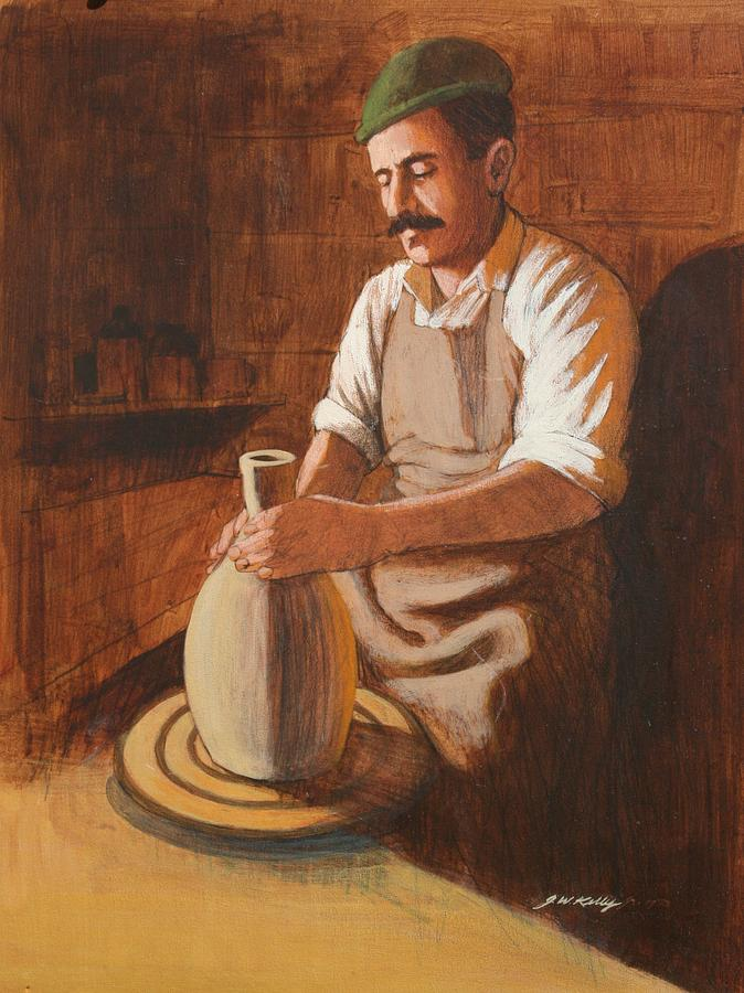 Artist Throwing A Clay Pot Painting - Potters Wheel by J W Kelly