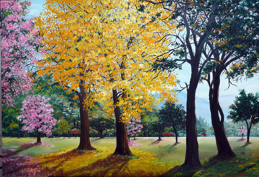 Tree Painting Landscape Painting Caribbean Painting Poui Tree Yellow ...