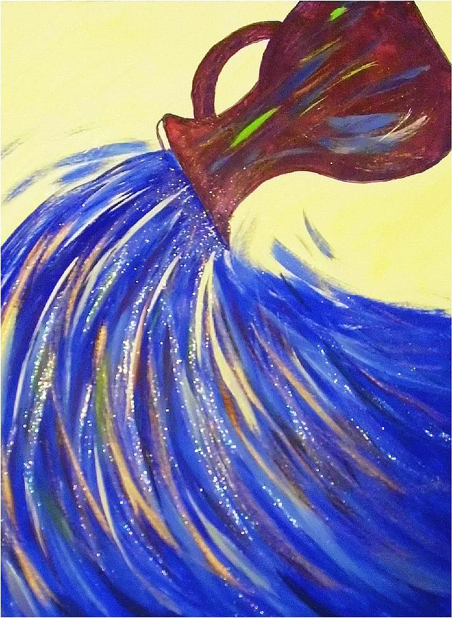 Water Painting - Pouring Out His Love by Margaret Grubic
